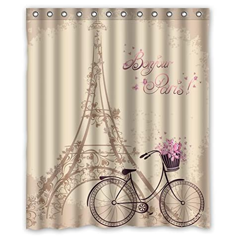 abigai Custom Frech Paris Eiffel Tower City of Love Retro Custom Printed Waterproof fabric Polyester Bath Curtain Bathroom Decor Shower Curtain 72