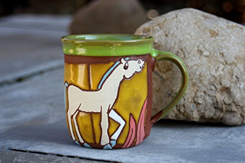 Pottery Tea or Coffee Mug, Handmade Ceramic Mug, Unique Animal Cup, Wheel Thrown Mug, Child Mug, Horse Mug