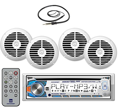 New Marine Dual AM425BT Marine Boat Yacht CD MP3 USB Receiver with Motion Control and Bluetooth Stereo Audio Radio Player with 4 X 6.5 Inch Marine Audio Spekaers System + Enrock Marine Antenna - Complete Marine Outdoor Stereo Package (White) (Marine Stereo System Package compare prices)