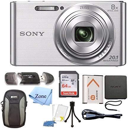 Sony DSC-W830 Cyber-Shot 20.1MP Digital Camera + 64GB Memory Card & Accessory Bundle (Silver)