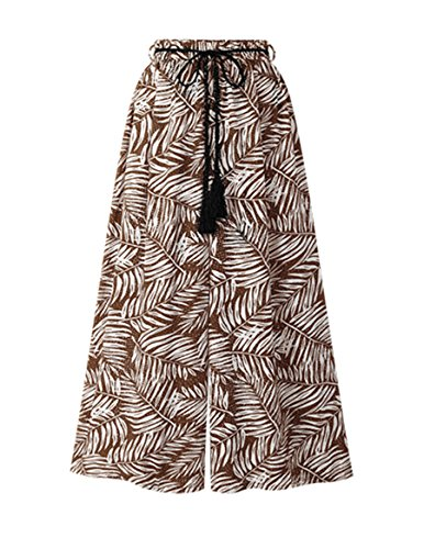 L-KRL Women's Cropped Leaves Print Drawstring Beach Pants Wide Leg Palazzo Pants by L-KRL