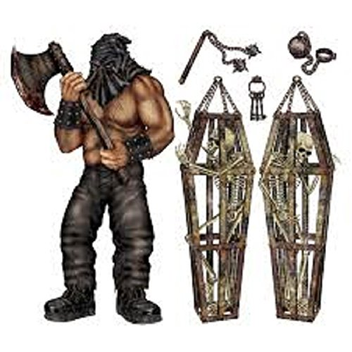 Club Pack of 72 Executioner and Skeleton Cage Insta-Theme Halloween Prop -