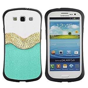 Fuerte Suave TPU GEL Caso Carcasa de Protección Funda para Samsung Galaxy S3 I9300 / Business Style Gold White Fashion Shiny Fashion