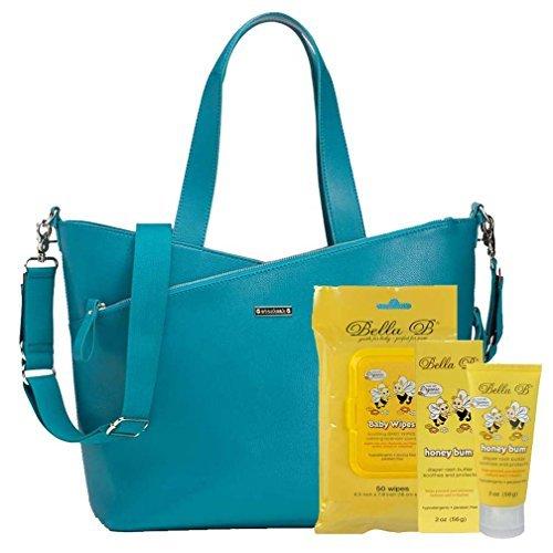 bundle-3-itemsstorksak-lucinda-diaper-bag-leather-teal-bella-b-honey-bum-2-oz-bella-b-babywipes-50-c