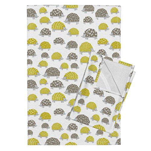 Roostery Hedgehog Animal Cute Kawaii Kids Block Print Tea Towels Hedgehogs - Goldenrod/Silver by Andrea Lauren Set of 2 Linen Cotton Tea Towels by Roostery