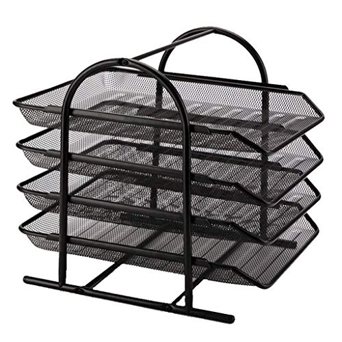 Libobo4-Tier File Rack Metal Mesh Letter Tray Scratch-Resistant Stackable