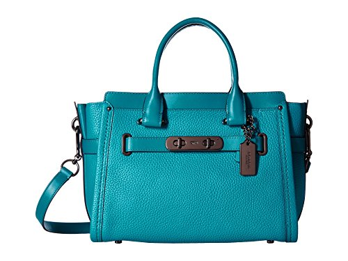 COACH Women's Pebbled Leather Coach Swagger 27 DK/Turquoise Satchel