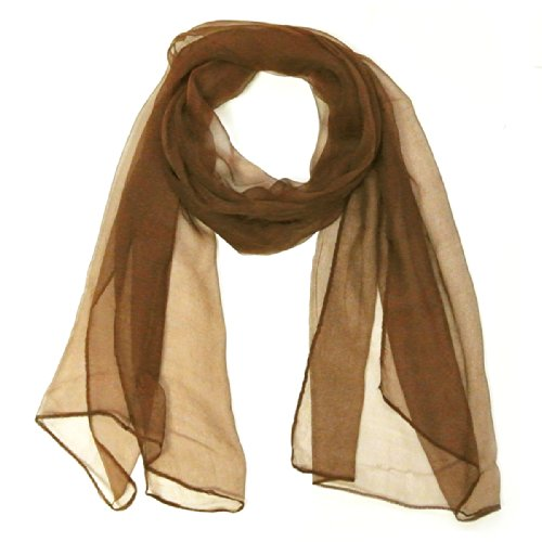 Wrapables Solid Color 100% Silk Long Scarf, Brown