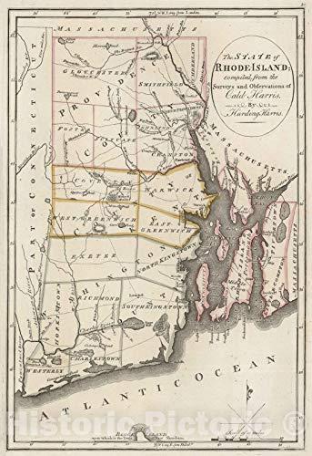 (Historic Map | 1818 Rhode Island. | Vintage Wall Art | 24in x)