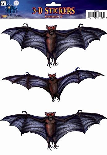 Forum Novelties 3D Bat Window Stickers, Black -