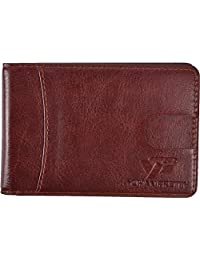 Yuhan Pretty RFID Blocking Ultra Slim Bifold Leather Wallet Thin Front Pocket Wallet With Money Clip for Men and Women (Brown)