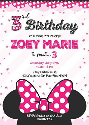 Birthday Invitations for Girls or teen Girls - 3rd Birthday Invitation - Minnie Mouse birthday Invitation