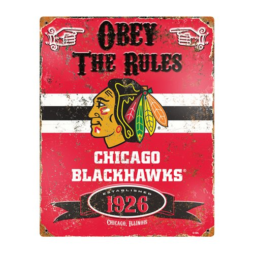Party Animal NHL Embossed Metal Vintage Chicago Blackhawks - Nhl Pub Sign