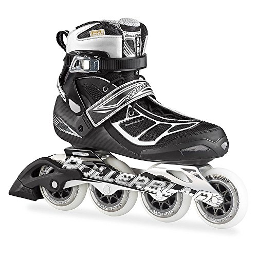 Rollerblade 15 TEMPEST 90C High Performance Fitness/Training Skate with 4x90mm Supreme Wheels, Black/Silver, US Men 11