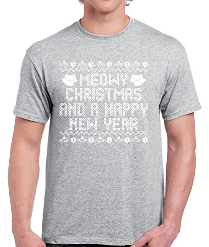 In Costumes Kittens Turkey (Vizor Meowy Christmas And A Happy New Year Ugly Christmas Tshirt For Men Meowy Christmas Tshirt Men's Holiday Tee Grey)