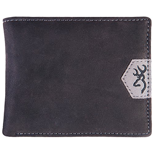 Browning Men's Leather Bi-Fold Wallet (Black Textured Full-Grain Leather Exterior, Sold Individually)