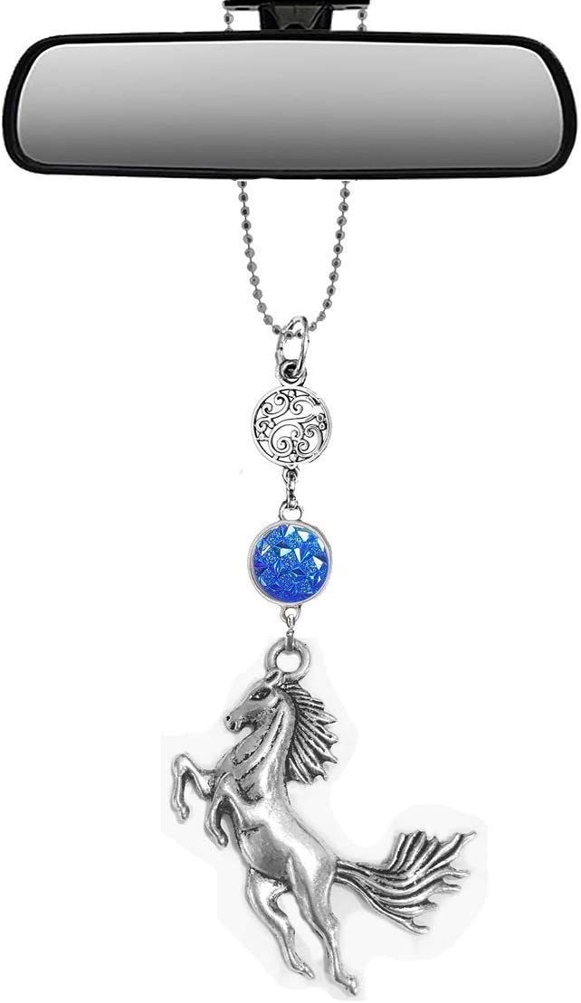Handmade Bling Assorted Mirror Car Charm Hanger dream catcher Ornament with adjustable chain (Horse)