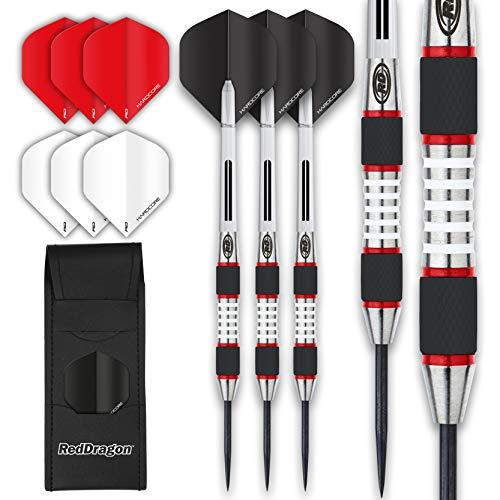 RED DRAGON Evos Tungsten Steeltip Darts Set 22g, 24g, 25g, 26g, 27g, 28g with Flights, Stems and Wallet