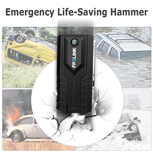 Car Jump Starter with Lithium Battery Booster for 12V Vehicle,Up to 8.4L Gas, 5.5L Diesel Engine,Built-in Safety Hammer,Red Blue Ultra-Bright LED Flashlight and 12000mAh Power Bank by FP2LINK by FP2LINK (Image #3)