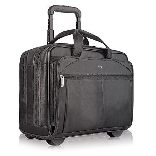 Solo 15 6 Inch Premium Leather Rolling Laptop Case Black