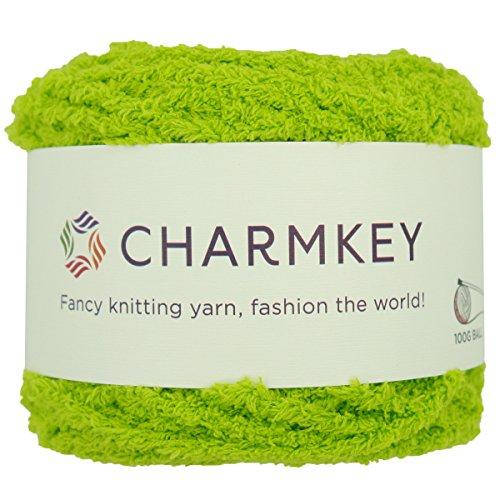 (Charmkey Shaggy Fur Yarn Baby Soft 5 Bulky Fuzzy 100 Percent Polyester Velvet Knitting Yarn 12 Ply for Fluffy Dolls Blanket Furry Amigurumi Toys, 1 Skein, 3.53 Ounce (Lime Green))