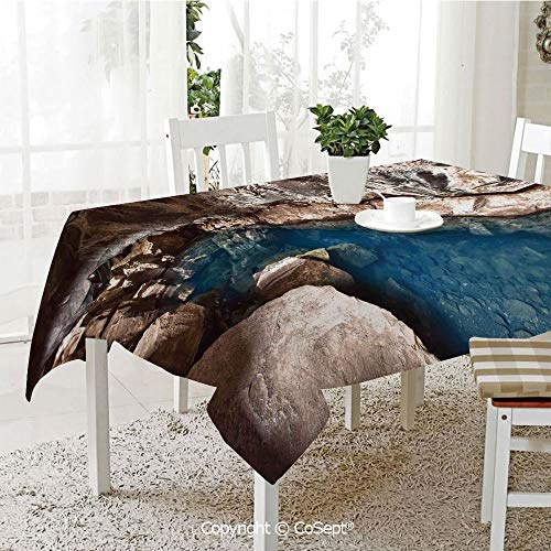 Water Resistant Tablecloth,Outside Cave of the Beach and Ocean at Sunset Time Horizon in Tropic Lands Picture,Washable Tablecloth Dinner Picnic Table Cloth Home Decoration(60.23
