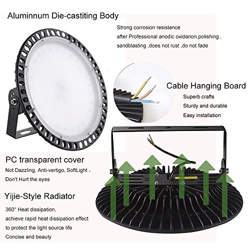 300W UFO High Bay LED Lighting,Getseason Super Bright Commercial Lights,Commercial Grade Area Ultra Thin and Efficient for Warehouse Workshop Hanging Lighting Fixtures (1) by Getseason (Image #2)