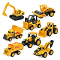 Odowalker Assorted Construction Vehicles Trucks Sand Box Toys Cute Mini Cars Excavator Cement Truck Dumper Tank Truck Bulldozer Forklift for Kids 3 Years and Above