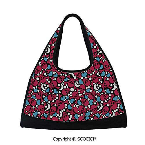 Fitness bag,Smiling Red Skulls with Cross Signs Hearts Moons and Dots Pattern on Black Backdrop,Easy to Carry(18.5x6.7x20 in) Multicolor