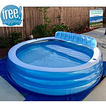 Blow up above ground pool swimming pool with seats and cup holders family lounge for Blow up swimming pools for adults
