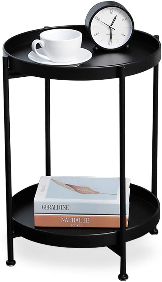 2 Tier Metal End Table, Round Side Table, Nightstand/Small Tables for Living Room, Accent Side Table(Black)