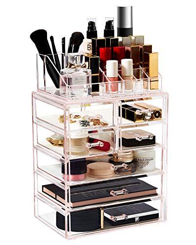 Acrylic Pink Makeup Organizer Cosmetic Drawers Large Plastic Vanity Holder Storage
