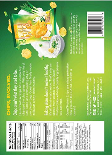 Quest Nutrition Sour Cream & Onion Protein Chips, Low Carb, Gluten Free, Potato Free, Baked, 8 Count