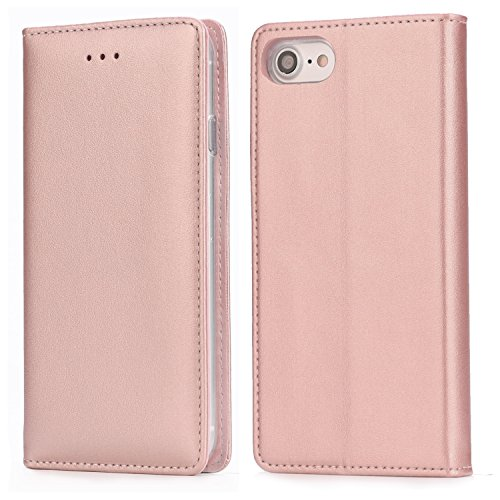 iPhone 8 Plus / 7 Plus Leather Case, IPHOX Folio Leather Wallet Case Wireless Charging with [Kickstand] [Card Slots] [Magnetic Closure] Flip Notebook Cover Case for iPhone 7 Plus / 8 Plus (Rosegold)