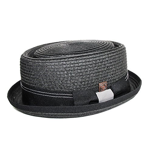 Dasmarca Mens Summer Paper Straw Telescope Crown Retro Porkpie Hat - Rico Black L - Straw Retro Hat