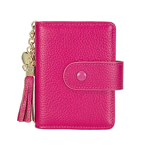 Women's Mini Credit Card Case Wallet with ID Window and Card Holder purse 9 Colors(Roes Red)