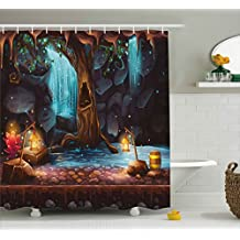 Ambesonne Fantasy Decor Shower Curtain by, Enchanted Forest with Cave Waterfall and Magic Tree Barrel of Gold Elf Image, Fabric Bathroom Decor Set with Hooks, 70 Inches, Brown Blue