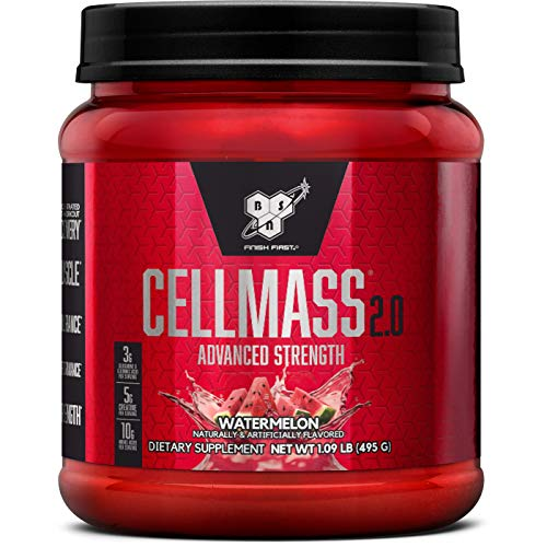 BSN CELLMASS 2.0 Post Workout Recovery with BCAA, Creatine, & Glutamine - Keto Friendly - Watermelon, (50 Servings)