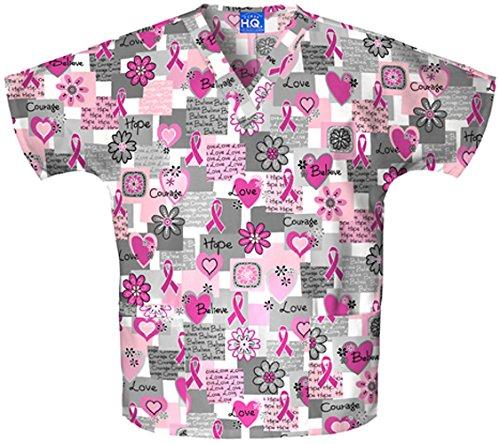 Cherokee Scrub H.Q. by Women's Discount V-Neck 2-Pocket Tunic Style Breast Cancer Awareness Print Scrub Top X-Large Print