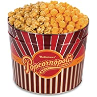 Popcornopolis Gourmet Popcorn 1.26 Gallon Tin with Caramel & Cheddar Popcorn