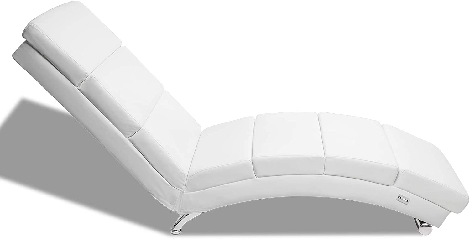 Casaria Leather Lounger London Sofa Chaise Lounge Ergonomic Artificial Leather or Fabric Day Bed Floor Chair Recliner (White) White