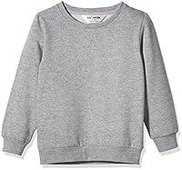 Kid Nation Kids' Slouchy Solid Brushed Fleece Sweatshirt for Boys Girls M Gray Heather