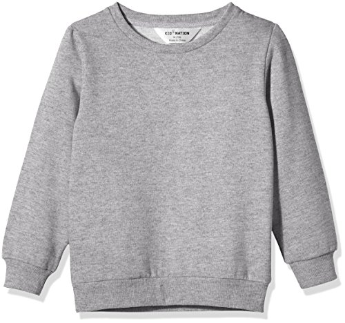 Kid Nation Kids' Slouchy Soft Brushed Fleece Casual Basic Crewneck Sweatshirt for Boys or Girls L Gray Heather
