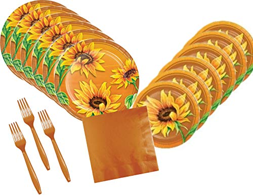 Sunflower Party Supplies (Fall Sunflowers Party Supply Bundle for 24)