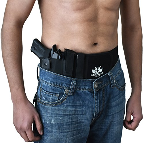 Defensive Gear Premium Belly Band Holster - Adjustable Waist Firearm Holster For Concealed Carry - Compatible With Glock 17, 19, 42, 43, Sig Sauer, M&P Shield & Similarly Sized Pistols