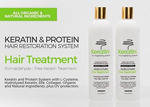 Keratin Hair-Straightening Formaldehyde-Free w/ L-Cysteine Treatment 2-Piece Set plus FREE Pre-Treatment Clarifying Shampoo 16oz / 500ml and FREE Keratin Silk Treatment Enhanced Formula 8oz / (Silk Usa Hair Straightener)