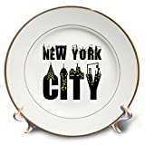 3dRose Alexis Design - American Cities - Decorative text New York City, landmarks, shining windows on white - 8 inch Porcelain Plate (cp_286456_1)