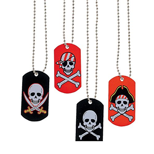 Bargain World Metal Pirate & Crossbones Dog Tag Necklaces (With Sticky (Prizes To Give Away At Halloween Party)