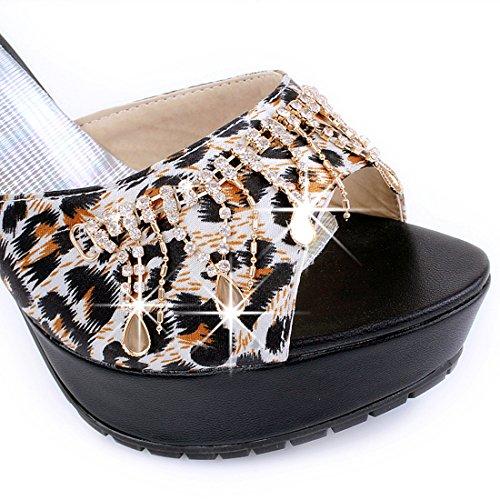 Rhinestone Black Mules Leopard Slippers Platform with Artfaerie Heel Stiletto Women's Print xwv6WAqzt
