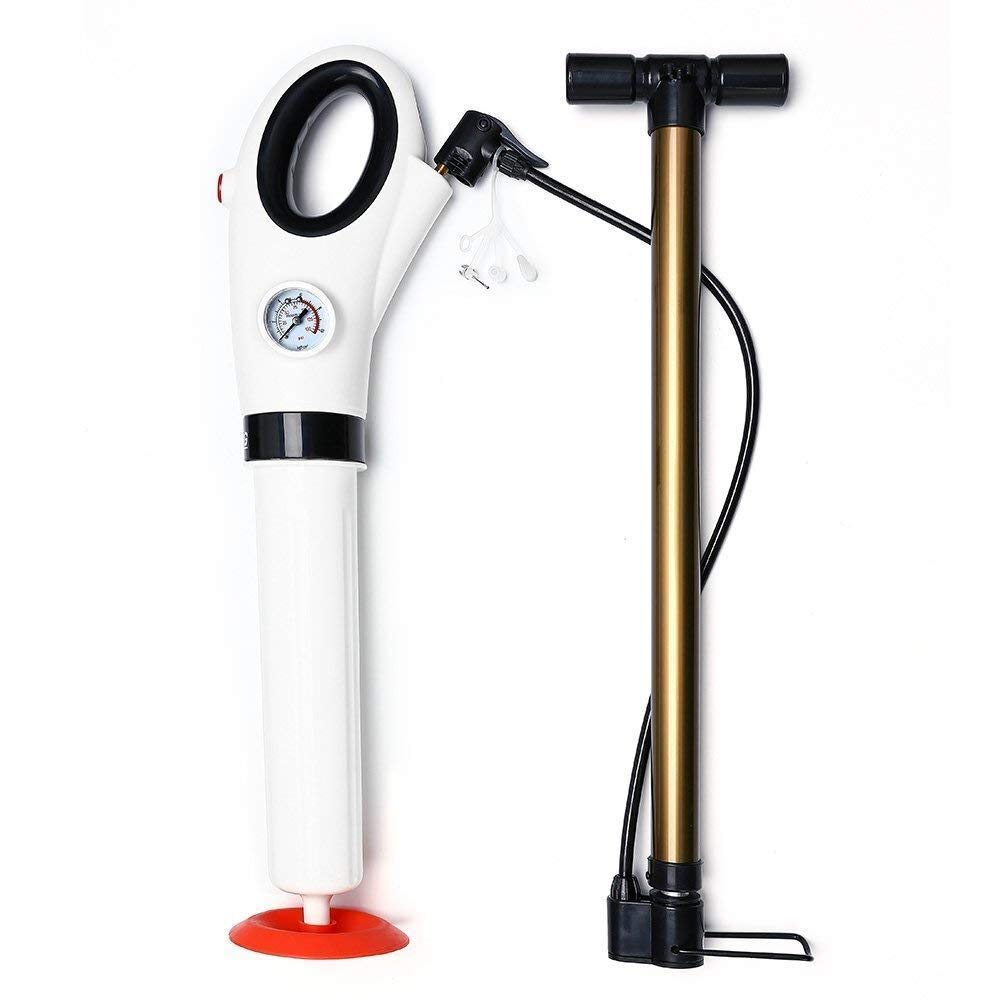 Microtimes Toilet Plunger,Powerful Manual Air Drain Blaster High Pressure Suitable Sure Holder Drain Plunger for Bathroom, Toilet, Bathtubs, Showers